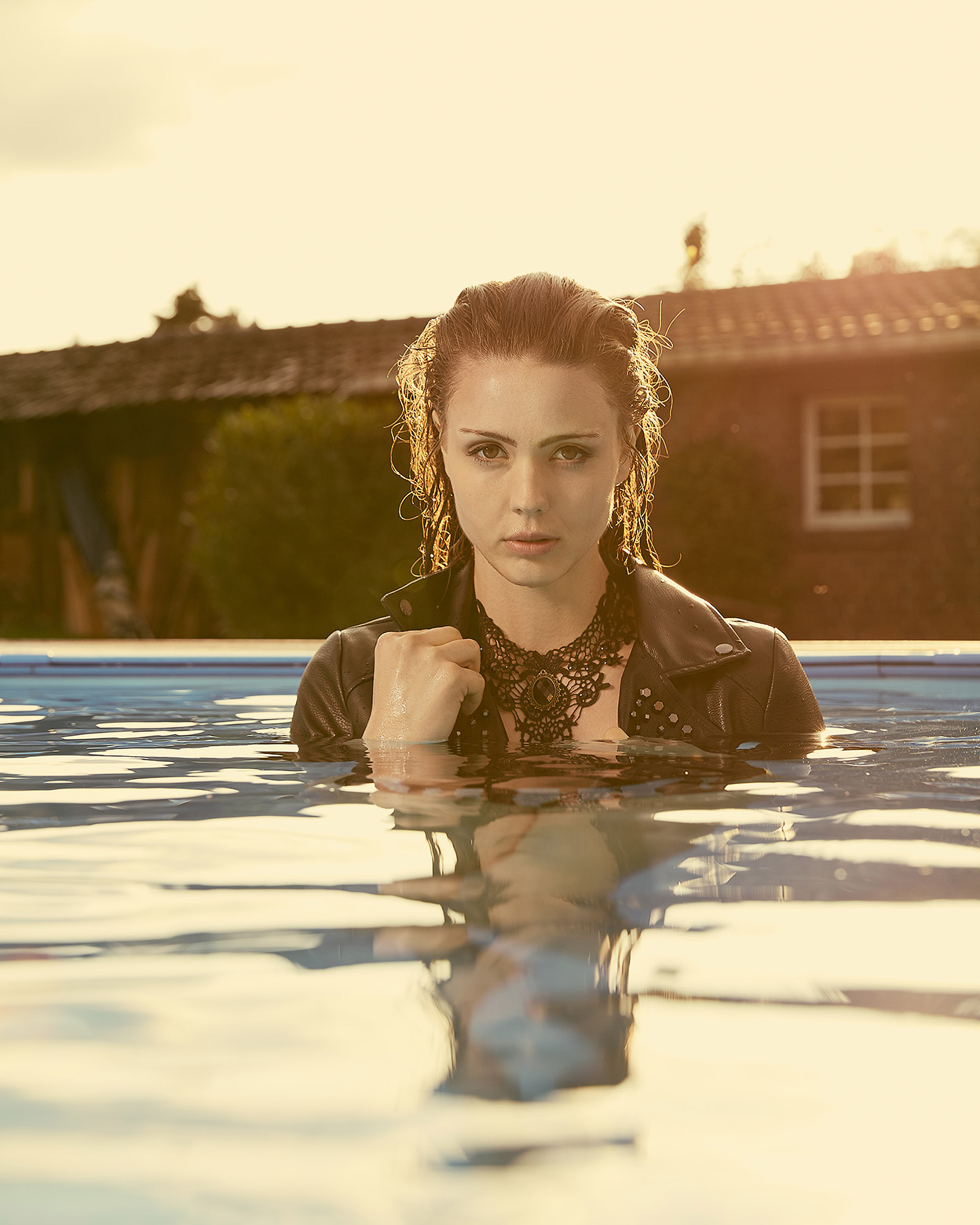 Fashion and Pool - Swim with Leatherjacket by Guess, by Gunnar Wöbse